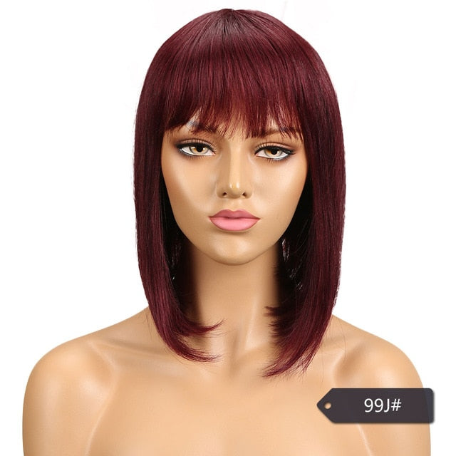 Human Hair Wigs With Bangs 10 colors