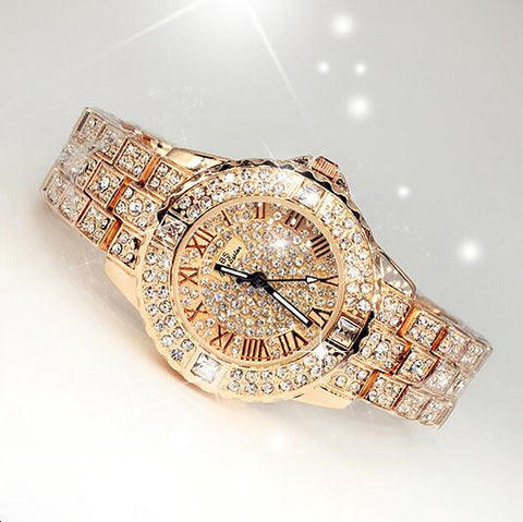 Gold Crystal Quartz Rhinestone Dress Watch