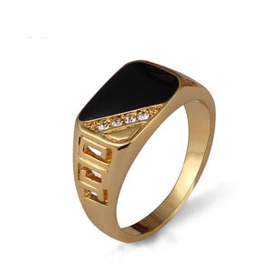 Classic Gold-Color Black Enamel Rhinestone Ring