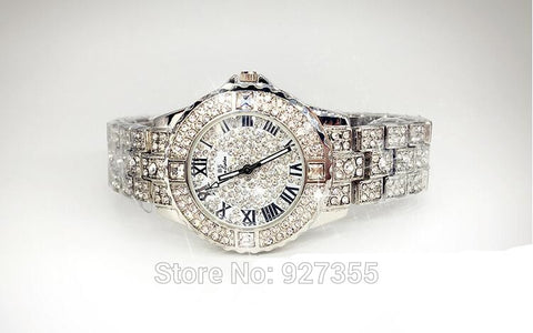 Silver Crystal Quartz Rhinestone Dress Watch