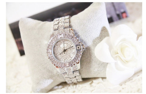 Rose Gold Crystal Quartz Rhinestone Dress Watch