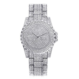 Silver Rhinestone Ceramic Crystal Quartz Watch