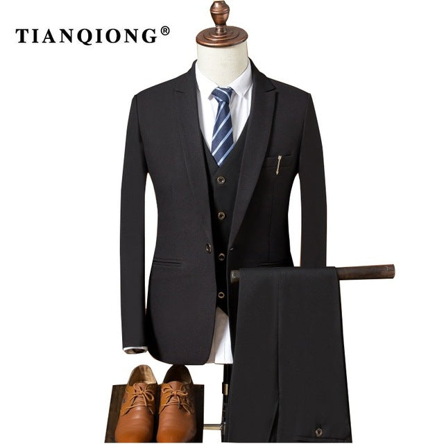 Men\'s Slim Fit Wedding Suits for Men 3 Piece Jacket Pants Vest ...