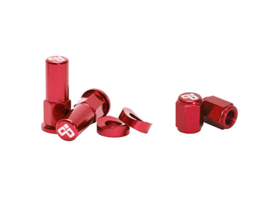 Dubya Rim Lock Nut & Valve Cap Kit Red