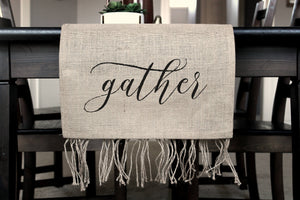 Burlap Table Runner - Rustic Centerpiece - Holiday Table Decor