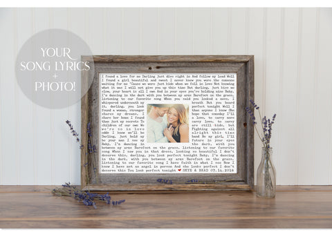 Custom Framed Song Lyrics & Photo Print | The Perfect Valentine's Gift Idea!