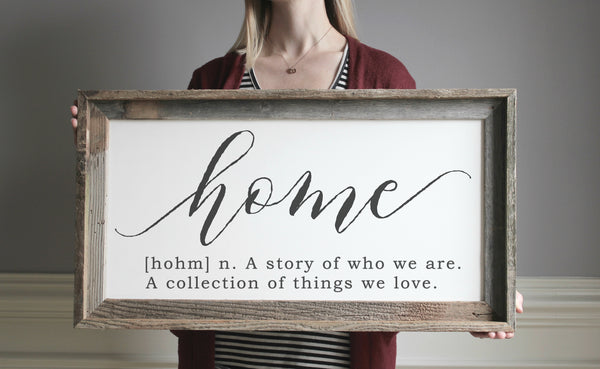 Definition of Home Sign - farmhouse wood sign - family room sign