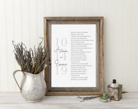 First Dance Lyrics or Vows Framed, Your Wedding Song Custom, Wedding Vows Couples Song, Anniversary Gift