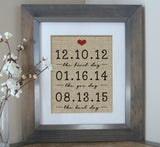 The First Day, Yes Day, Best Day Burlap Print