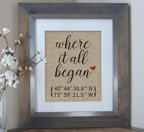 Where it All Began Burlap Print with Coordinates