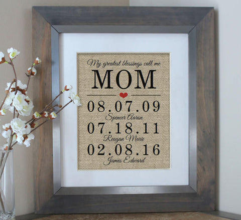 My Greatest Blessings Call Me Mom Burlap Print - Perfect for Mother's Day!