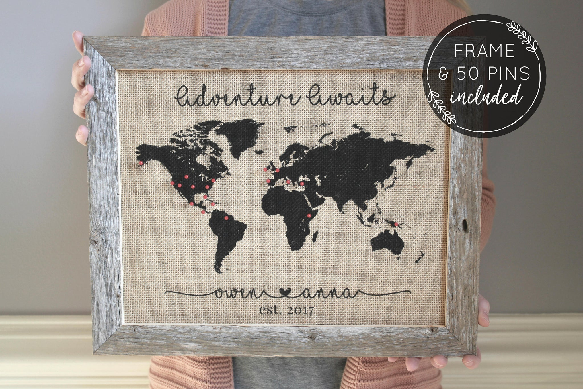 Push Pin Travel Map - Adventure Awaits Travel Gift