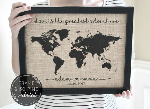 Push Pin Travel Map - Love Is the Greatest Adventure