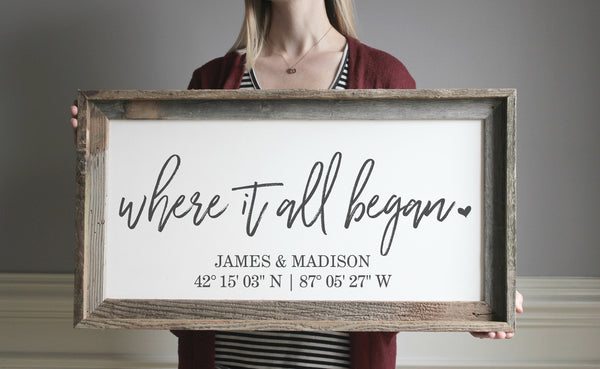 Where It All Began Sign, Custom Coordinates Wood Sign with Latitude Longitude