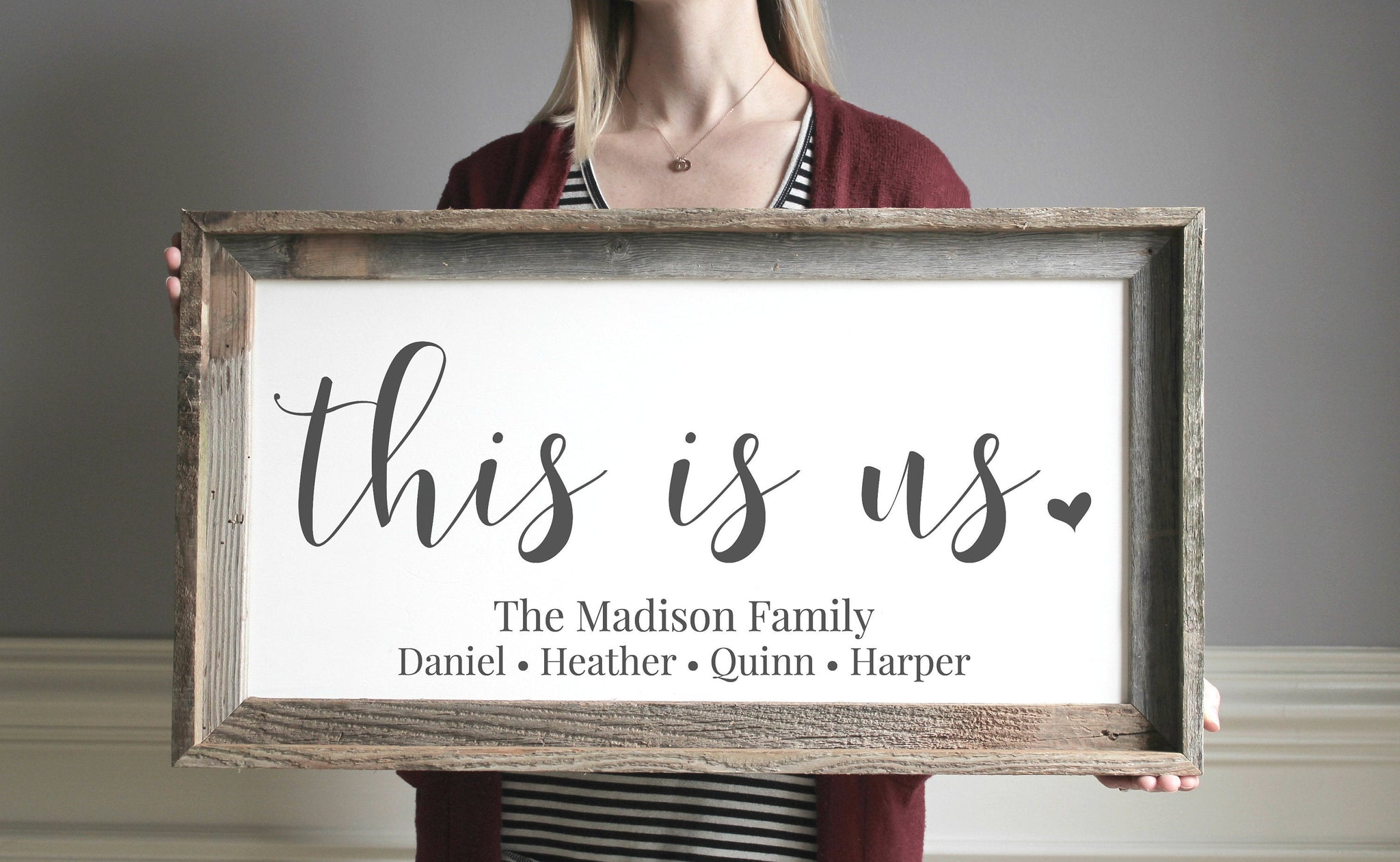 This Is Us Wood Sign - Personalized Family Gift for Adoption Gifts
