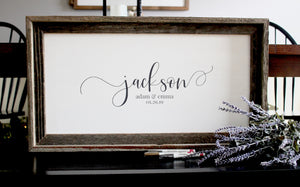 Rustic Wedding Guest Book Alternative, Wood Wedding Sign - Pen Included