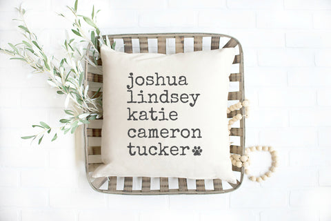 Family Names Pillow, Grandkid Names Pillow, Gift for Mom or Grandma