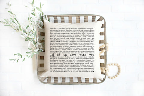 Unique Custom Song Lyric Pillow Anniversary Gifts for Men, Lyrics Pillow 2nd Year Anniversary Gift