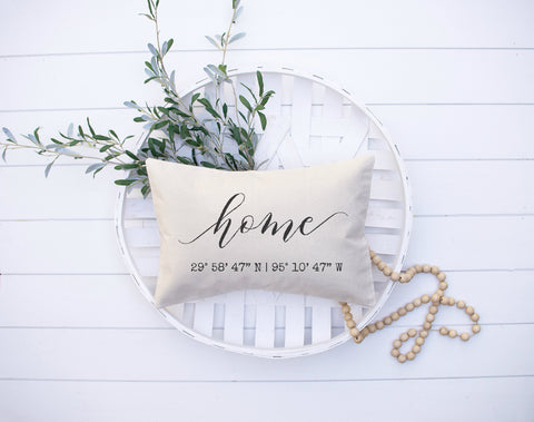 Home Latitude Longitude Pillow Personalized Housewarming Gift House Warming Gift