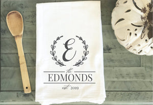 Personalized Kitchen Towel - Wedding Gift, Housewarming Gift, Bridal Shower Gift