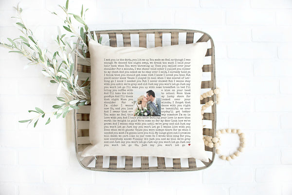 Song Lyric Pillow 2nd Anniversary Gift Cotton Wedding Vow Pillow