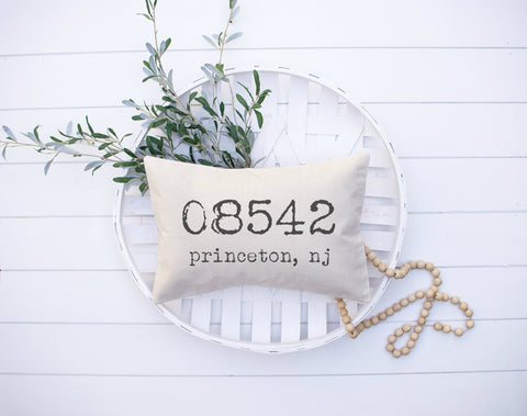 Zipcode Personalized Pillow Cover | Rustic Pillow Cover | Farmhouse Pillow