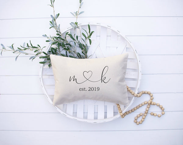 Bridal Shower Gift Personalized Initials and Heart Pillow, Throw Pillow Home Decor