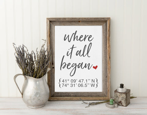 Where It All Began - Valentines Gift for Him, Gift for Her, Engagement Gifts for Couple