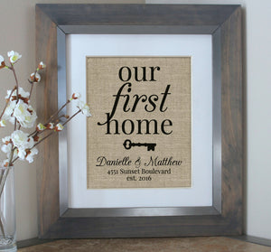 Our First Home - Home Sweet Home Burlap Print - Housewarming Gift