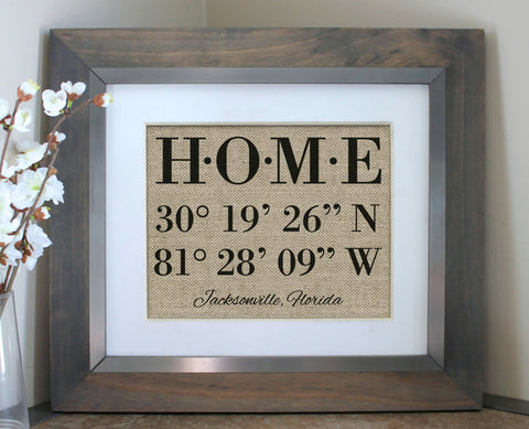 HOME Latitude Longitude Sign Housewarming Gift