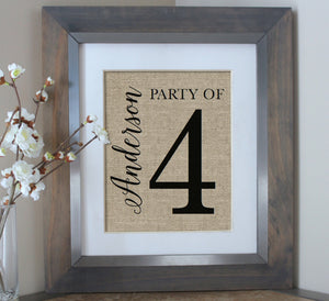Party of Burlap Print - Farmhouse Style Family Name Sign