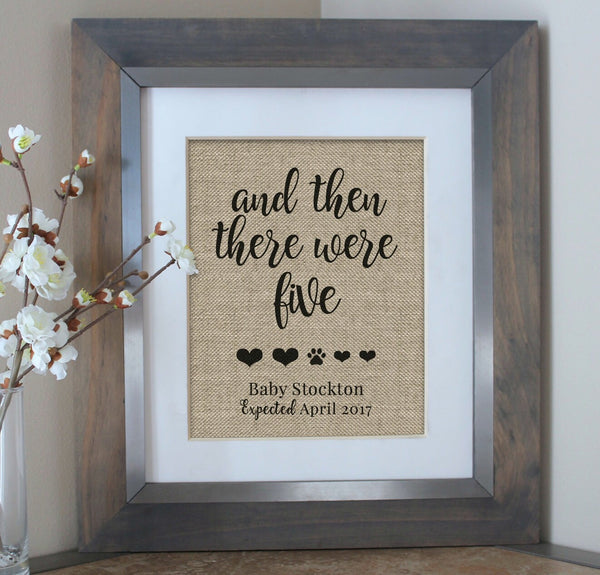 And then there were four baby announcement burlap print - dog mom gift for baby reveal