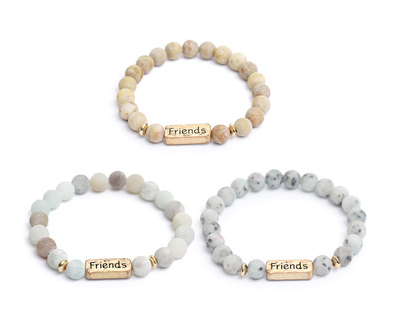 Natural Stone Beaded Bracelet for Friendship.