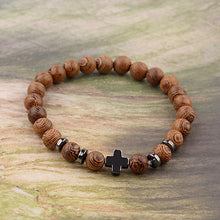Natural Wood Beaded Bracelet Meditation Cross