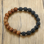 Load image into Gallery viewer, Vnox Lava Wood Beaded Bracelet Gents Male Wristband with  Wooden Beads Mens Jewelry Gift