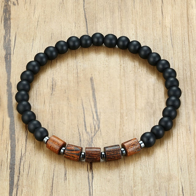 Vnox Lava Wood Beaded Bracelet Gents Male Wristband with  Wooden Beads Mens Jewelry Gift