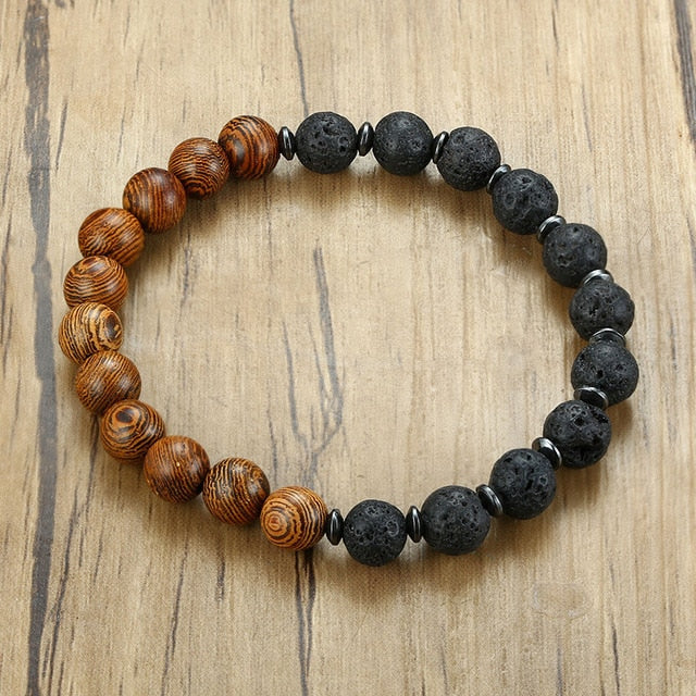 Vnox Stylish Wooden Lava Stone Beads Bracelets for Men Women Wood Beaded Charm Male Casual Wristband