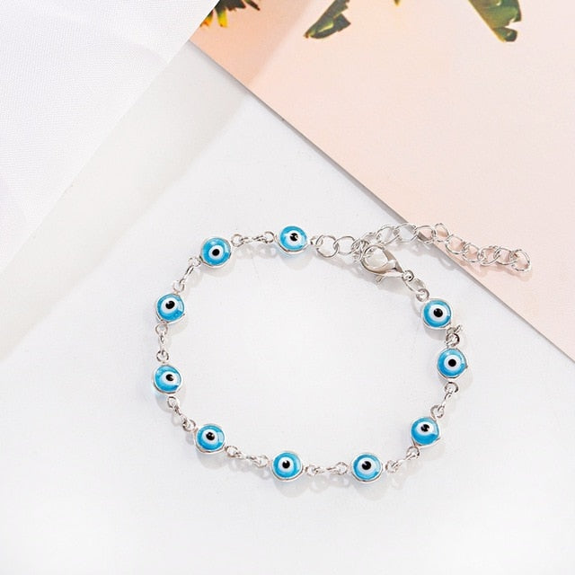 2020 Women's Blue Evil Eye Chain Adjustable Bracelet Vintage Turkish Evil Eye Charm Wristband Bracelets