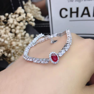 KJJEAXCMY Fine Jewelry 925 Sterling Silver inlaid ruby women hand bracelet classic support detection