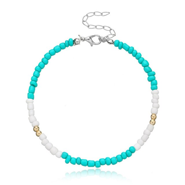 1 PC New Handmade Beaded Anklet Seed Bead Adjustable Colorful Ankle Bracelet On The Leg Foot Trendy Jewelry For Women Men 21.5cm