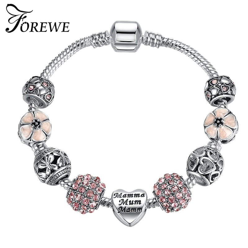 2018 Fashion  Unique Silver Color Mother Heart Charm Bracelet for Women DIY Jewelry Original Beads Bracelets & Bangles Gift