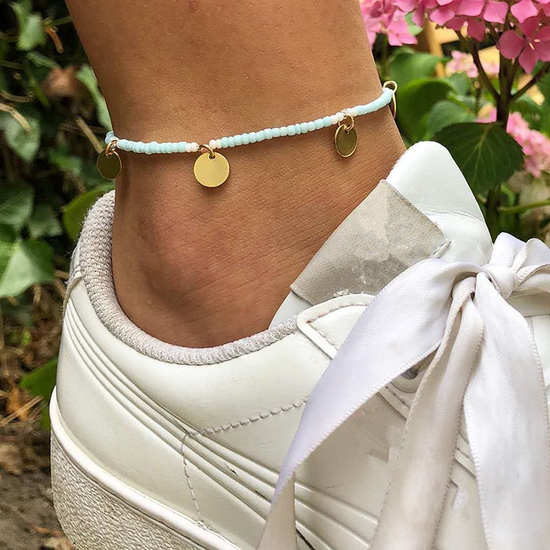 Fashion Trendy Foot Jewelry Crystal Beads Drop Anklet Summer Barefoot Ankle Leg Bracelets Gift For Women Girl