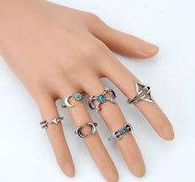 6PCS Cool Vintage Turkish Beach Punk Moon Arrow Ring Set Ethnic Carved Silver Color Boho Midi Finger Ring Knuckle Charm anelli