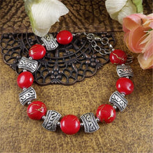 Lusion Brand Tibet Sliver Color Gem Stone Flower Bracelet For Woman