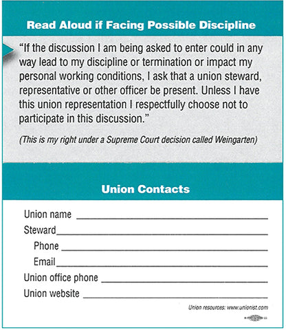 Union Steward Business Cards - 100 count