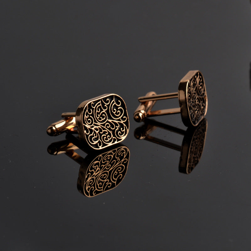 Men's Black and Gold Fashion Cufflinks