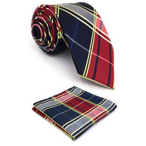 Multi-Color Checkered Men's Tie and Pocket Square