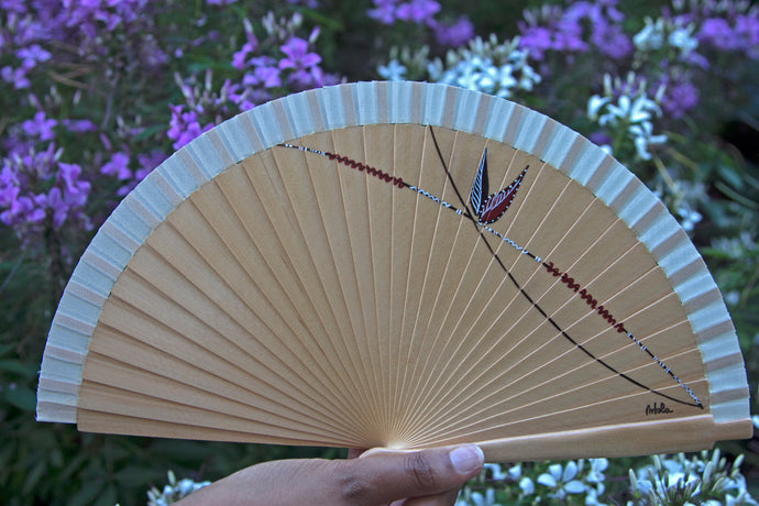 Wood Hand-painted Fan - Brown