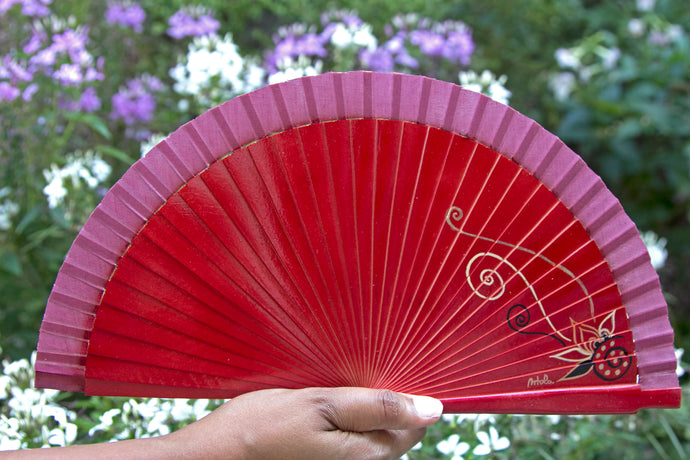 Wood Hand-painted Fan - Red