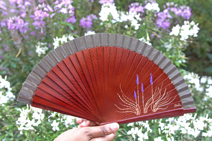 Wood Hand-painted Fan - Lavender